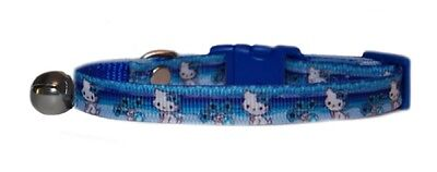 "super cute blue & white Hello Kitty   safety kitten cat  now up to 12"" collar"