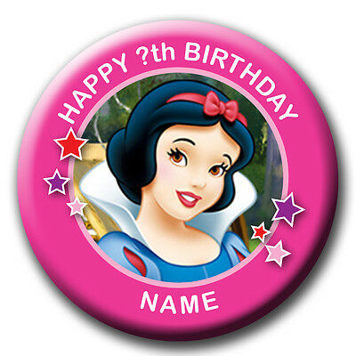 PERSONALISED SNOW WHITE BIRTHDAY BADGES/FRIDGE MAGNET/MIRRORS - 58MM or 77MM