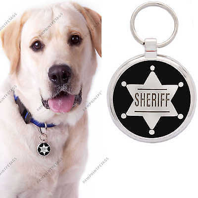 Pet Tag ID Dog Tags Engraved Identification Black Sheriff By Paw Print Pet Tags