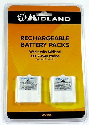 AVP8  MIDLAND Two Pack of GMRS Batteries for CXT 200 and LXT 300 Series Radios