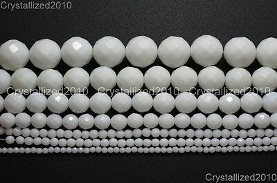 Natural White Alabaster Gemstone Faceted Round Beads 4mm 6mm 8mm 10mm 12mm 16""