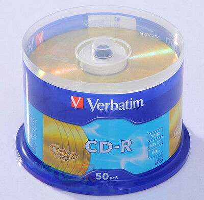 50 Verbatim CD-R disc 700M 52X factory sealed case Gold Series surface