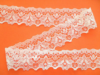 "~5 mts  PRETTY IVORY NOTTINGHAM Lace Trim   1 1/4"" wide TRIM/CRAFT"