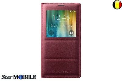 Samsung Galaxy Note 4 N910 S-View Flip Cover Coque Etuis Housse Rouge Sans Puce