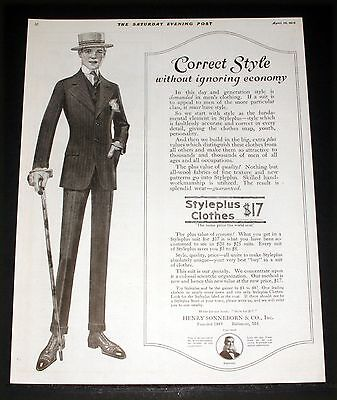 1915 Old Magazine Print Ad, Styleplus Clothes, Generation Of Style, Fashion Art!