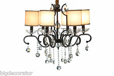 Crystal chandelier lighting pendant ceiling  fixture with 6 shades 32-6