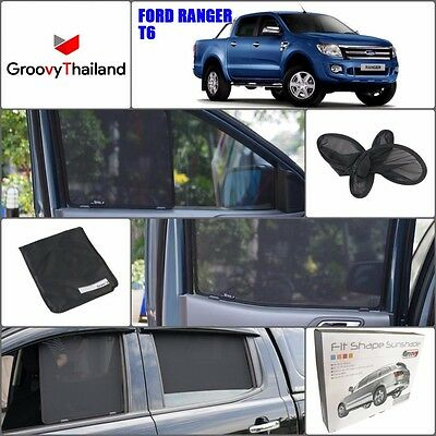 4 Pcs Set Ford Ranger T6 Fit Shape Foldable Mesh Curtain Blind Sun Shade