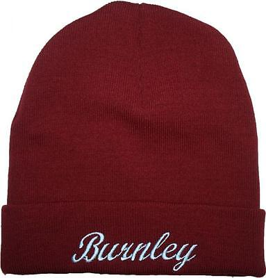 Burnley FC Claret & Blue Beanie Knitted Hat Football Turf Moor Winter Warm