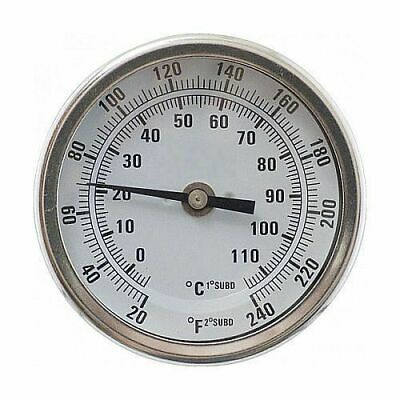 """1/2"""" NPT Dial Thermometer Weldless Kit (3"""" Face x 2.5"""" Probe) - Homebrew Beer"""