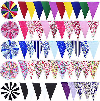 Handmade Fabric Bunting 10ft  / 20ft Shabby Chic, Wedding, Party