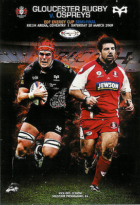 Cardiff Northampton Gloucester Ospreys 2009 EDF SEMI-FINALS RUGBY PROGRAMME