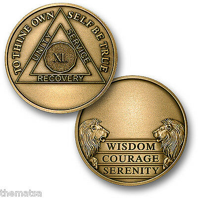 Aa Alcoholics Anonymous 40 Year Engravable  Recovery Sobriety Challenge  Coin