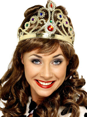 Ladies Gold Crown Queen Regal Tiara Adults Royalty Fancy Dress Accessory