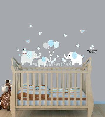 Three Elephants Balloon Decal, Balloon Nursery Wall Sticker, Boys Room Mural
