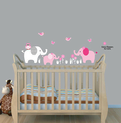 Three Elephants Decal, Elephant Nursery Wall Sticker, Girls Room Wall Art Decor