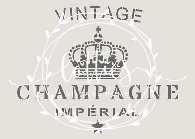 STENCIL A5 VINTAGE CHAMPAGNE Furniture Wine Crate French ❤ SHABBY CHIC 190 MYLAR