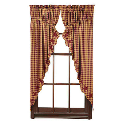 "Primitive/Country Burgundy Star Prairie Curtain Set 63"" Long Burg/Tan Checked"