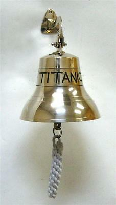 "NAUTICAL Marine NAVIGATION 6""Tall Solid Brass TITANIC SHIP BELL with CORD RINGER"