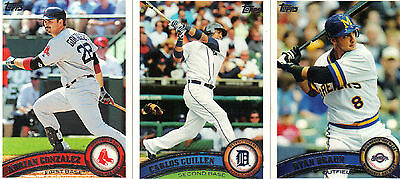 2011 Topps  Series1, 2 and Updates    ( You Pick 15 )  Complete Your set