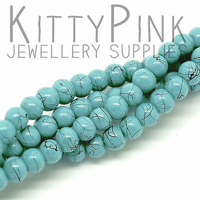 200 Turquoise 4mm Round Spacer Glass Stone Jewellery Beads