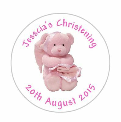Baby Girl Cute Bear Christening Party Goody Bag Stickers Personalised Pink DE 02