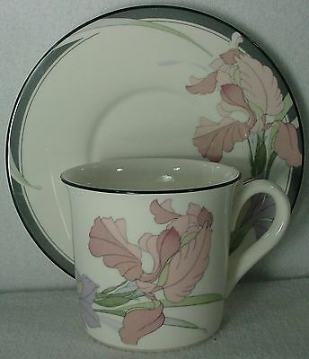 NORITAKE china CAFE DU SOIR 9091 New Decade pattern CUP & SAUCER Set Cup 3""