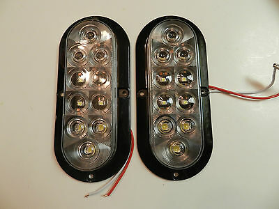 """(2) Reverse/ back Up Utility Light CLEAR 6"""" Oval Surface Mount 10 LED Trailer"""