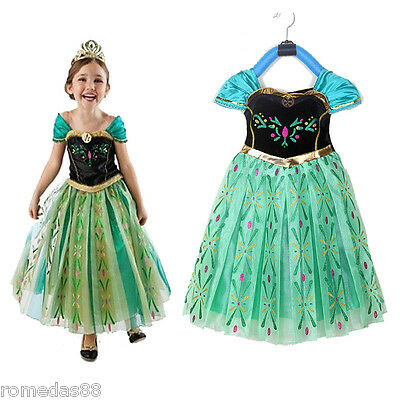 Lovely Frozen Princess Anna Cosplay Dress with Crown Wand Braid