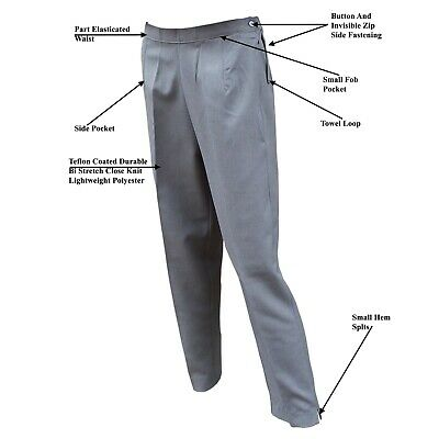 CATHEDRAL Trousers Ladies Coated Polyester Grey Bowling Sz 12-28 Free P&P