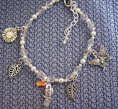 TOUCAN Charm Bracelet Sterling Silver Plate 5 Charms, Sunflower, Butterfly,Leafs
