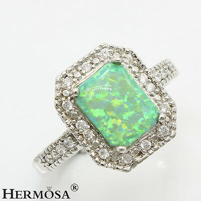 65% OFF Authentic Green Australian Opal 925 Sterling Silver Ring Size 8
