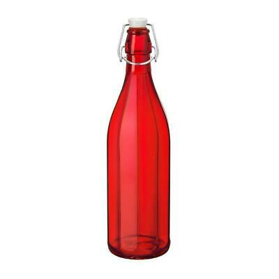 6x Glass Water Bottle 1 Litre Red, Decagon Shape