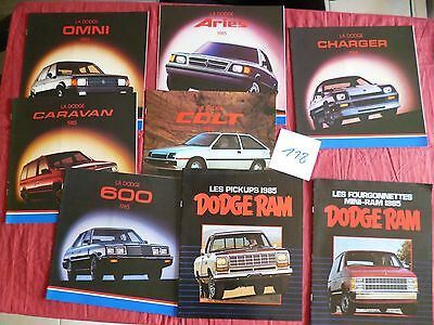 118 /  CHRYSLER DODGE   8  catalogues  en français 1985  canada