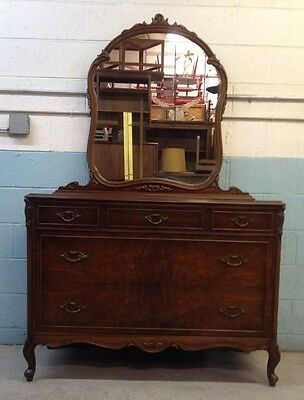 French Country Antique style Burl Walnut Dresser with Mirror Vintage
