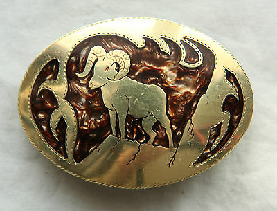 Vtg Hand Made Mother of Pearl Inlay Ram Brass Western Belt Buckle