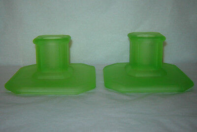 Vintage Pair Tiffin Green Satin Glass Candle Holders Art Deco Frosted Holder Set