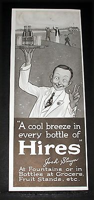 1915 Old Magazine Print Ad, Hires Root Beer, A Cool Breeze In Every Bottle, Art!