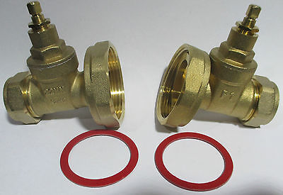 PUMP VALVE GATE TYPE 22MM BRASS COMPRESSION CENTRAL HEATING ISOLATION  PAIR or 1