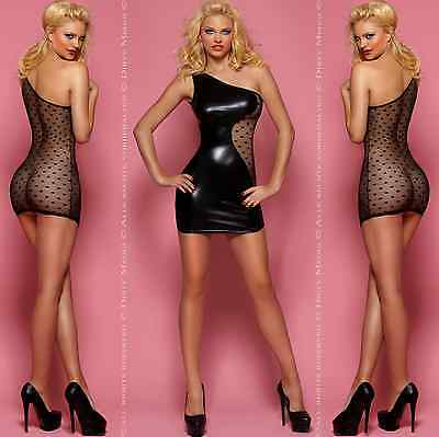 MINIKLEID WETLOOK DRESS KLEID Clubwear Party GOGO Gr. S M L XL 36 38 40 42