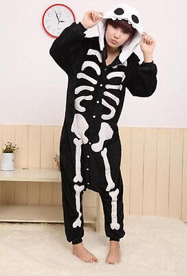 2017 NEW@@ Unisex Kigurumi Pajamas Adult Anime Cosplay Costume Onesie skeleton
