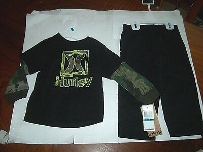 NEW HURLEY 2 pc piece black long sleeve t shirt khaki jeans pants 12 or 18 month