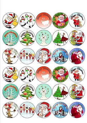 30 X Festive Mixed Christmas Images - Edible Cupcake Cake Toppers X41