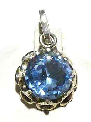 ART DECO ESTATE STERLING SILVER WOMENS TOPAZ CRYSTAL CHARM OR PENDANT 1""