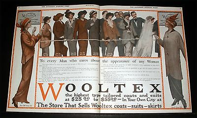 1914 Old Magazine Print Ad, Wooltex, Womens Tailored Coats & Suits, Fashion Art!