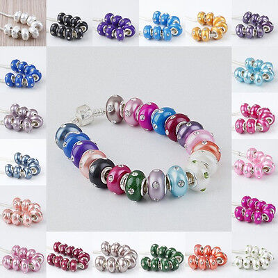 Polymer Clay Crystal Rhinestone European Large Hole Beads Fit Bracelet 21 Colors