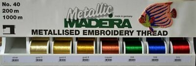 Madeira Metallic 40 Machine Embroidery Thread 1000m Spools, Metallised Thread