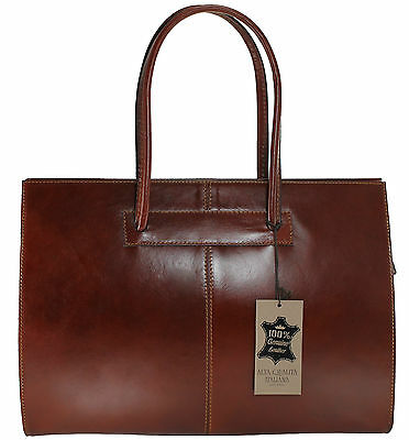 Made in Italy briefcase bag handbag women genuine leather workbag brown 9008 US