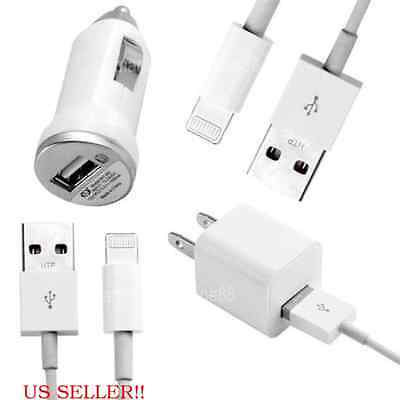 USB Home AC Wall + Car Charger + 2 x 8 Pin Data Sync Cable For iPhone 6 5 5S 5C