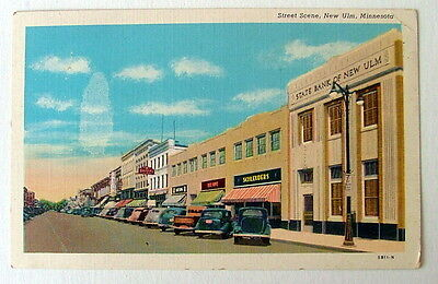 POSTCARD OLD CARS ON STREET IN FRONT OF STATE BANK NEW ULM MINNESOTA #0yy5
