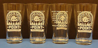 BALLAST POINT BREWING & SPIRITS SEXTANT 16oz. SET OF 4pcs PINT BEER GLASSES NEW